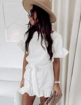 Sommer einfarbiges Rüschen-Minikleid mit Gürtel