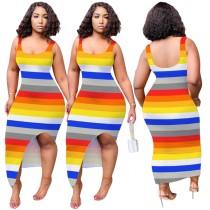 Robe débardeur fendue sans manches africaine colorée