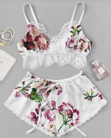 Sexy Lace Accent Two Piece Floral Satin Pajama Shorts Set