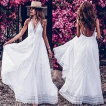 Vestido largo sin espalda halter blanco de verano