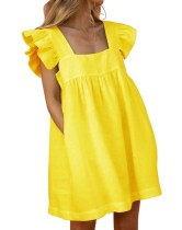 Summer Solid Color Cute Square A-line Ruffle Dress