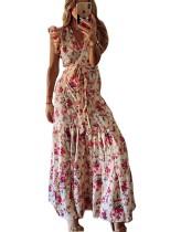 Summer Elegant Floral Wrap Long Evening Dress