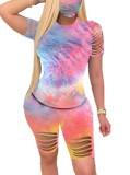 Conjunto de pantalones cortos de verano de dos piezas con rip tie dye
