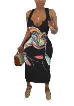 Vestido largo sin mangas con estampado africano