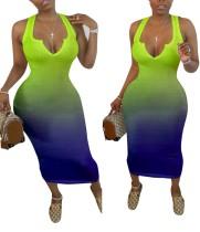 Vestido largo sin mangas con degradado africano sexy