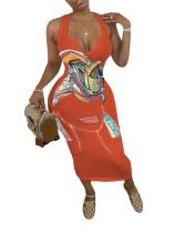 Vestido largo sin mangas con estampado africano informal de talla grande