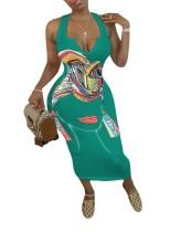 Robe débardeur longue imprimée africaine grande taille