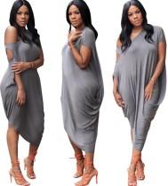 Sexy grijze onregelmatige losse jurk met schuine schouder