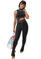 Sexy mouwloze crop top en hoge taille broek set