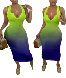 Plus Size Sexy African Gradient Long Tank Dress