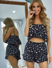 Sexy Heart Black Zweiteilige Shorts Pyjama Set