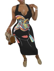 Plus Size Casual African Print Long Tank Dress