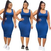 Plus Size O-pescoço apertado Plain Tank Dress