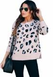 Suéter regular de leopardo con cuello en O