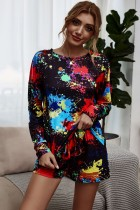 Conjunto de pijama de dos piezas de colores de otoño