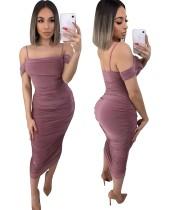 Sexy effen kleur riem ruches midi-jurk
