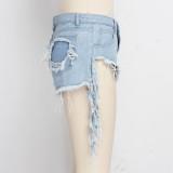 Pantalones cortos de mezclilla flecos de corte alto sexy