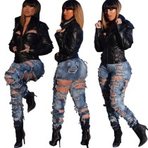 Sexy zerrissene Jeans mit hoher Taille