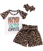Çocuklar kız yaz üç parçalı leopar şort Set