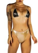 Sexy Metallic Halfter Bikini
