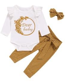 Conjunto de calças de impressão de três peças de bebê menina