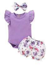 Conjunto de pantalones cortos con estampado de tres piezas Baby Girl Summer