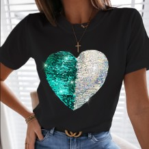 Summer Sequins Heart Black Shirt