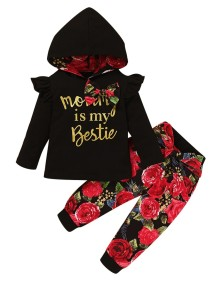 Kids Girl Autumn Floral Hoody Trainingsanzug