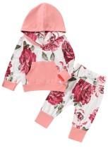 Kids Girl Autumn Floral Hoody Trainingsanzug