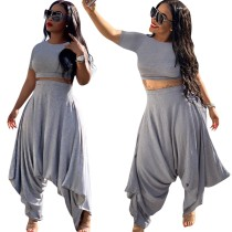 Afrika Casual Düz Crop Top ve Hippi Pantolon