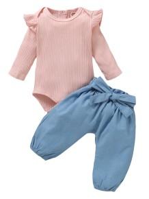 Ensemble de pantalons unis deux pièces bébé fille