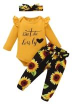 Conjunto de pantalones florales de tres piezas para niña