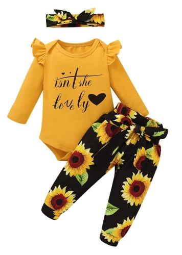 Set di pantaloni floreali a tre pezzi per bambina