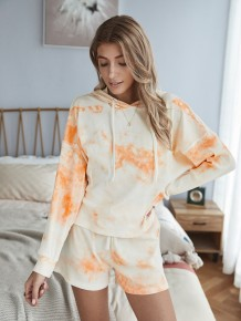Autumn Tie Dye Zweiteiliges Hoody Shorts Pyjama Set