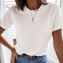 Summer O-Neck White Basic Shirt