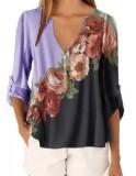Camisa casual boho con cuello en V floral