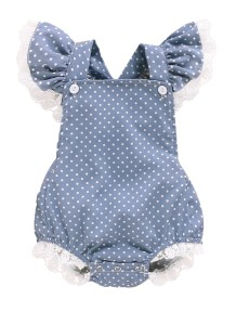 Baby Girl Summer Print Dot Ruffle Rompers