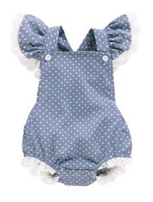 Baby Girl Sommer Print Dot Ruffle Strampler