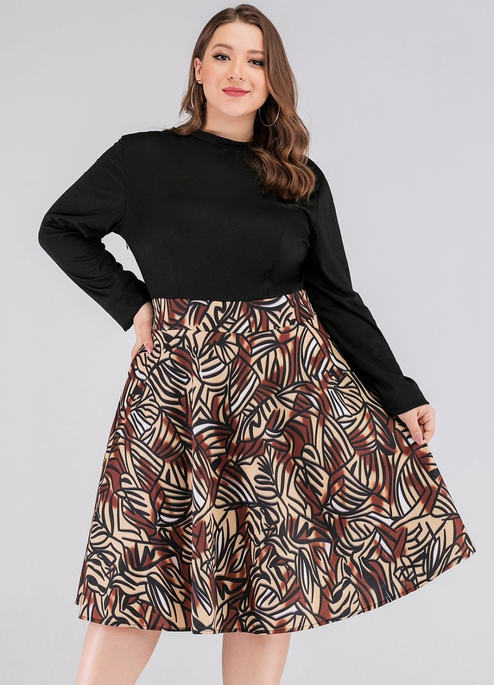 Robe Patineuse A Manches Longues En Gros A Grande Taille Amant Global