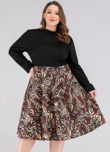 Plus Size Print Long Sleeve Skater Dress