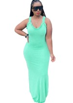 Summer Ruffle Strap Slit Plain Long Dress