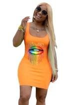 Lábios Imprimir Africano Sexy Fit Tank Dress