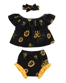 Baby Girl Summer Print 3-teiliges Shorts-Set