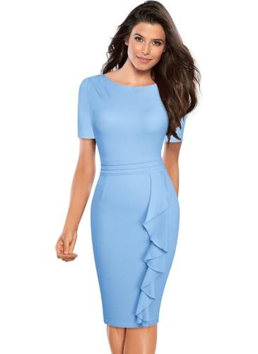 Западное элегантное платье миди с рюшами и шеей