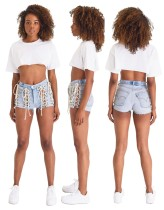 Sexy Lace Up Blue Denim Short