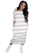 Casual Wide Striped O-Neck Long Shirt Dress