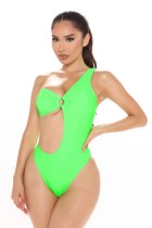 Sexy Plain One Shoulder O-Ring Swimwear