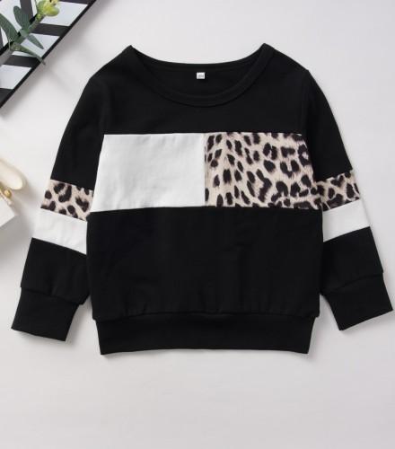 Kinder Mädchen Herbst Leopard Shirt