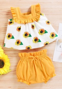Baby Girl Summer Print Zweiteilige Shorts Set