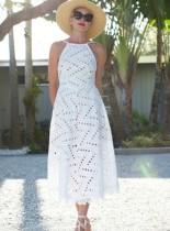 Vestido largo halter ahuecado blanco
